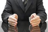 Podnikatel je ochrana rukou — Stock fotografie