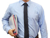 Man holding stack of folders Pile and going to work or to manage — Photo