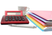 Accounting concept with files, folders and calculator — Stock Photo