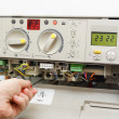 Stock Photo: Fixing gas furnace