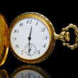 Gold pocket watch on a black background — Stock Photo #41915855
