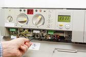 Fixing gas furnace — Stock Photo