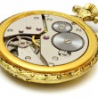 Closeup of old vintage pocket gold watch isolated — Stock Photo