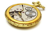 Closeup of old vintage pocket gold watch isolated — Stok fotoğraf