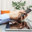 Businessman using  modern mobile phone and digital tablet comput — Stock Photo #42998659