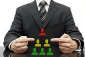 Organization with difficult boss, bad middle management and good — Stock Photo