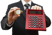Time is money, dont be late. Businessman showing five after twel — Foto Stock