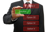 Solution concept, businessman choosing right solution — Stock Photo