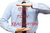 Businessman showing the way to finish plan (  idea, plan ,realiz — Stockfoto