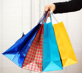 Female holding shopping bags — Stock Photo