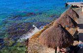 Palapas on the Caribbean Beach — Stock Photo