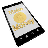 Make money phone isolated on white — Stock Photo