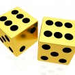 Gold dice isolated on white background — Stock Photo #27414235