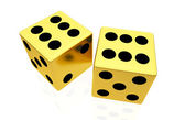 Gold dice isolated on white background — Stock Photo
