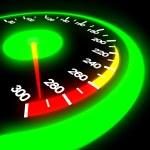 Speedometer isolated on black — Stock Photo