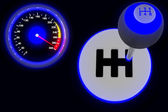 Gearshift & speedometer isolated on white 3d — Stock Photo