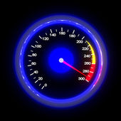 Speedometer isolated on black — Stock Photo