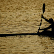 Canoeing at dusk — Stock Photo