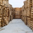 Wood in factory warehouse — Stock Photo