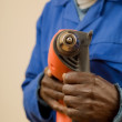 Construction Worker with Power Tool — Stockfoto