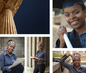 Education building columns and student — Stock Photo