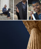 Education or court columns with college graduate collage — Stock Photo