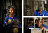 African welder with mask — Foto Stock