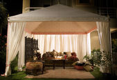 Party or wedding tent at night — Stock Photo