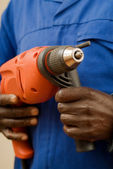 Construction Worker with Power Tool — Stock Photo