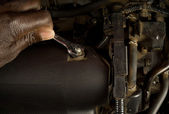 Fixing car engine — Stock Photo