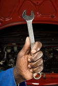 Mechanic and spanners — Stock Photo