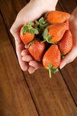 在女人的厨师手中的草莓 — 图库照片