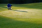 Golf green maintenance — Stock Photo