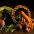 Stock Photo: Basket filled with fruit and vegetables