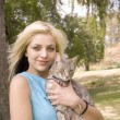Portarit of woman or girl with cat — Stock Photo