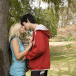 Couple kissing nest to garden tree - Stock Photo