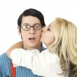 Surprised by Valentine kiss — Stock Photo #18232795