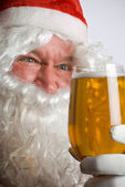 Santa mad for beer — Stock Photo