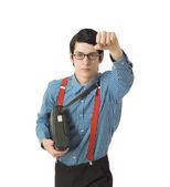 Super-herói de empresário de nerd — Fotografia Stock