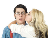 Sorpreso dal bacio di san valentino — Foto Stock