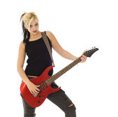 Woman with red guitar — Stock Photo