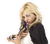 Dívka žena obchod zákazník v lásce s botou — Stock fotografie