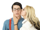 Surprised by Valentine kiss — Stock Photo