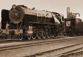 Tren de vapor sepia vintage — Foto de Stock