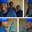 Collage combination of smiling construction workers - Stock Photo