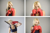 Collage combination of woman boxer with red gloves — Stock Photo