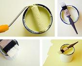 Collage combinación mejoras para el hogar bricolaje pintura — Foto de Stock