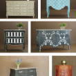 Collage combinaion various interior furniture - Foto Stock