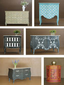 Collage combinaion various interior furniture — Stockfoto