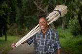 Fotografia stock del venditore di scopa piccola impresa imprenditore sudafricano — Foto Stock